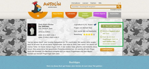 Screenshot www.antolin.de, Copyright Westermann Gruppe